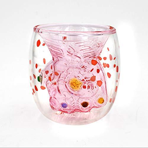 HLDX 250 ml Doppelglas-Thanos Kaffeetassen Safttassen Möbel Bedarfsartikel für den täglichen Gebrauch Transparente Modelle/Pink Section,Pink