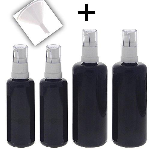 (Gel-Spender aus Violett-Glas 2x 50ml 2x 100ml 1x Trichter, Kosmetex Flasche mit Gelpumper, 4er-Set +Trichter)