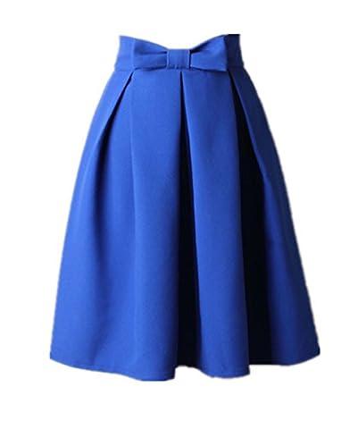 Uideazone Frauen Mädchen A-Line Midi Rock High Waisted Party Röcke Blau M