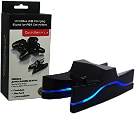 Microware UFO Blue LED Charging Dock Charger for PS4 Controller