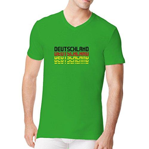 Fun Männer V-Neck Shirt - Nationalfarben Deutschland Schriftzug by Im-Shirt Kelly Green