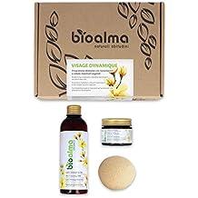 BIOALMA VISAGE DYNAMIC - Kit biológico Contiene 1 hidratante orgánico, 1 leche de limpieza orgánica y 1 esponja konjac. Ideal para todos los tipos de piel, ...