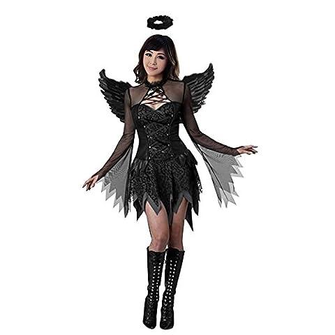 LAEMILIA Damen Reizvoll Flügel Satan Engel Geist Schwarz Halloween Kostüm Cosplay (36/38) (Kostüm Für Halloween Bilder)