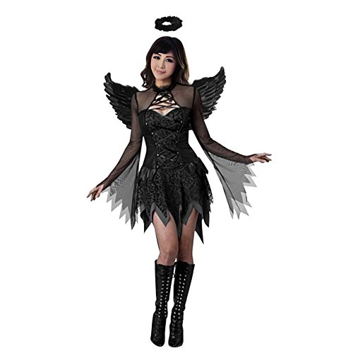 Eleery Angel Kostüm Adult Halloween Raven Black Fallen Angel Abendkleid (M, Schwarz)