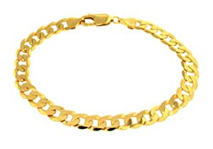 Carissima Gold Unisex 9 ct Yellow Gold Flat with Diamond Cut Curb Bracelet of Length 20 cm/8 inch