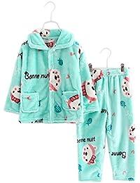 Flannel Niños Pijama Oso Verde Disfraz Suave Coral Velvet Sleepwear Nightcloth