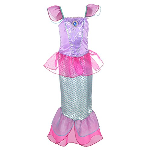 Lito Angels Mädchen Prinzessin Meerjungfrau Kostüme Märchen Kleid Verkleidung Party Kleid Gr. 6-7 Jahre Heißes Rosa
