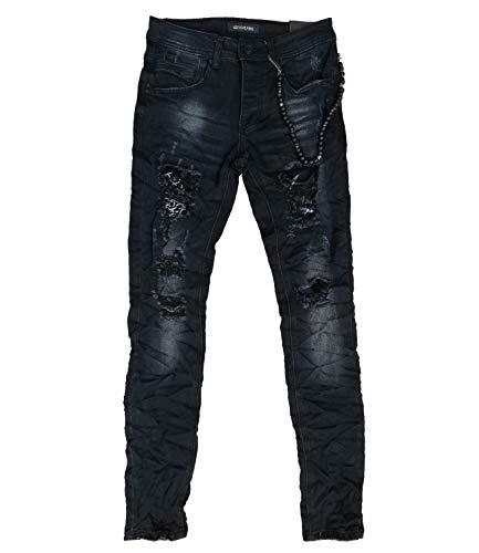 LEEYO JEANS Bikerjeans Herren Junge Slim schwarz E66LF21 (W32) -