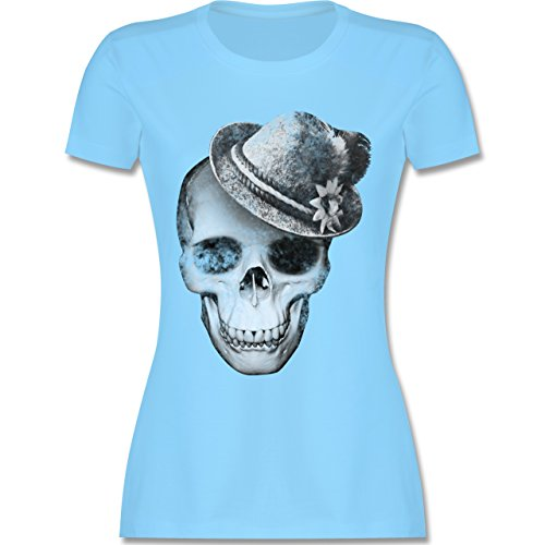 Shirtracer Oktoberfest Damen - Totenkopf mit Filzhut - Damen T-Shirt Rundhals Hellblau