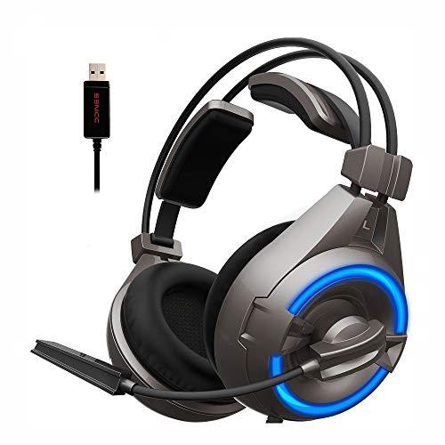 IN THE DISTANCE USB Gaming Headset Noise Cancelling Kopfhörer Mit Drehbarem Mikrofon LED Wired Gamer Kopfhörer Für PC (Color : Without Retail Box) Headset Retail-box