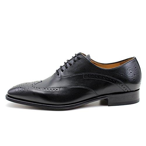 GIORGIO REA Chaussures Homme Noir Fait à la Main en Italie, Single Boucle, Brogues, Mocassins, Boucles, Élégant, Haute Couture