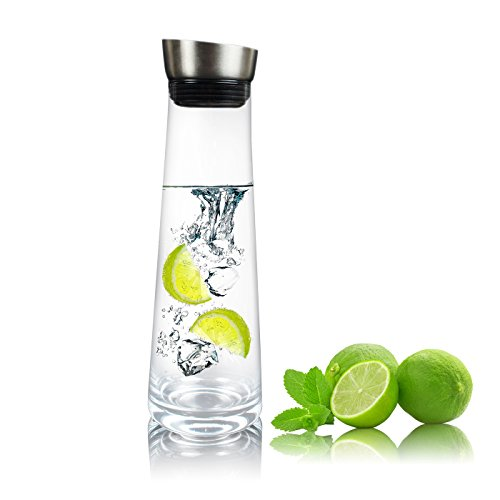 AckMond 1000 ml Karaffe Glas mit Deckel aus Edelstahl und Auslauf Glaskaraffe Wasserkrug mit Griff, für Homemade Saft