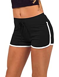 Hosaire Femme Short de Sport Casual Yoga Mode Plage avec Bords Colorés 3  Tailles Vert  cf69a597b75