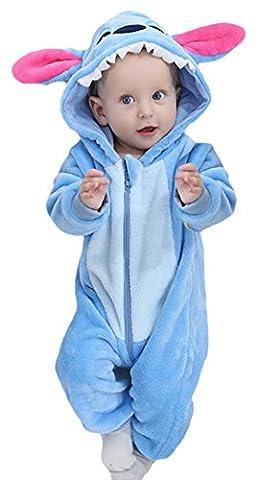 Y-BOA Pyjama Ensemble de Pyjama Dors Bien Enfant Bébé Combinaison Hiver Forme Animal Déguisement Stitch Bleu 4-12mois