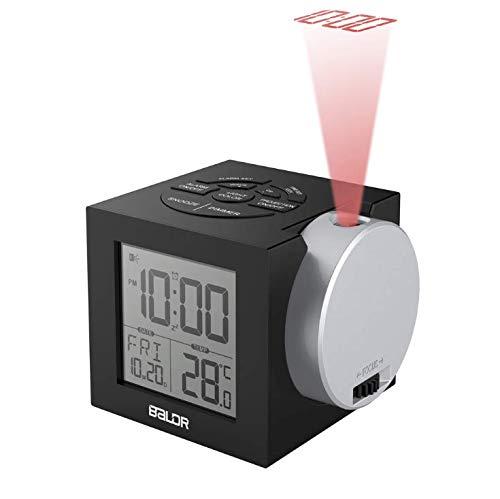 Bblank Projektionswecker, Wecker, Radiowecker-Projektion, Radiowecker/Digital Wecker/Großes Display/Dimmer/Dual-Alarm, Snooze-Funktion, Schlaf-Timer, USB-Nachfüllen
