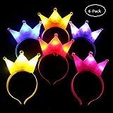 UChic - 6 diademas LED de corona luminosas para Halloween, conciertos, fiestas, bodas, juguetes, gorros, niños adultos (color al azar)