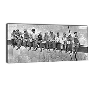 wandmotiv24 leinwandbild panorama nr 249 skylunch 100x40cm bild auf leinwand retro. Black Bedroom Furniture Sets. Home Design Ideas