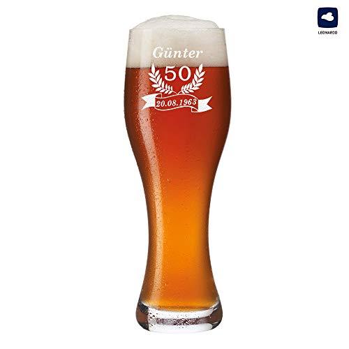polar-effekt Leonardo Weizenbierglas 0,5l mit Gravur personalisierte Weizenglas Geschenk-Idee - Bierglas für Männer zum Geburtstag - Motiv Jubiläum Ährenkranz Banner