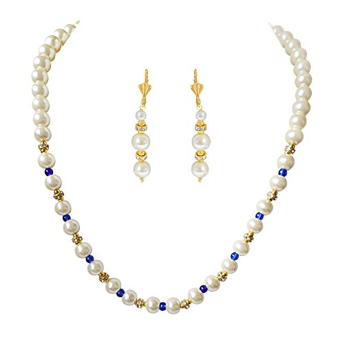 Surat Diamonds Single Line White Shell Pearl, Blue Colure Stone & Stone Ring Necklace Earring Set (PS469)  available at amazon for Rs.175