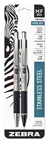 Zebra M/F 301Edelstahl Druckbleistift und Kugelschreiber Einziehbarer Stift Set, feine Spitze 0,5mm Druckbleistift und Medium 1.0mm Schwarz Tinte Pen Set (Zebra Kugelschreiber F 301)