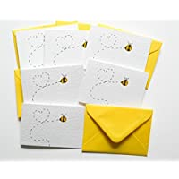 Bee Pack of 6 Notecards/Valentines/Invites/Thank You Cards