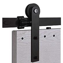 CCJH 5FT-153cm Herraje para Puerta Corredera Kit de Accesorios para Puertas Correderas Rueda Riel