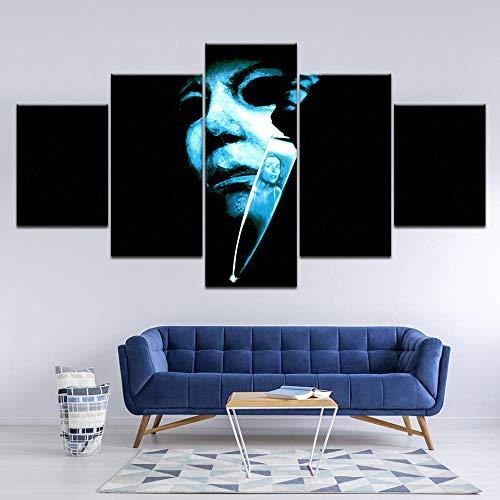 Yyjyxd Modulare Leinwand Wandkunst Bilder Rahmen Wohnzimmer Wohnkultur Halloween Film Terror Poster 5 Stücke HD Gedruckt Malerei Kunstwerk-4x6/8/10inch,Without frame