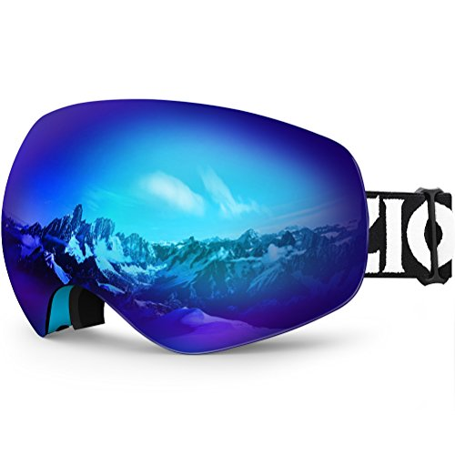 ZIONOR Lagopus X10 Rahmen/Rahmenlos Snowboard Skibrille mit Abnehmbar PC Linse 100% UV400 Schutz Anti-Fog Periphere Anzeigen mit Fixpunkt Anti-Rutsch
