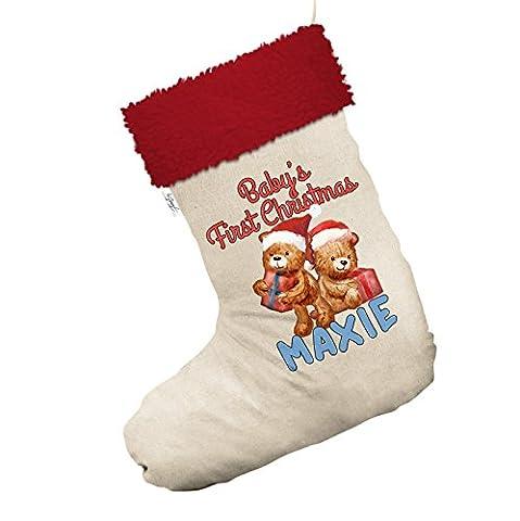 Teddy Baby 's First Christmas personalisierbar groß weiß Santa Claus Weihnachten Strümpfe mit rotem