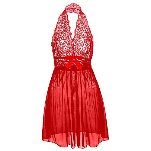 ML XL XXL 3XL 5XL 6XL Plus Größe Tiefer V-Ausschnitt Frauen Spitze Sexy Dessous Heiße Erotische Bogen Transparent Kleid Porno Kostüme Nachtwäsche, Rot, M (Cheerleader Kostüm Plus Größe)