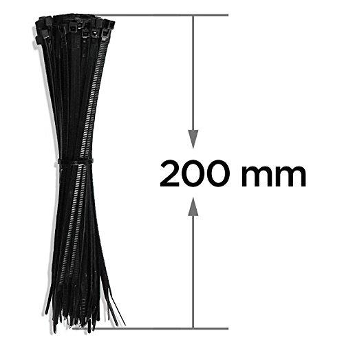 Preisvergleich Produktbild Profi Kabelbinder Set 100 Stk., Schwarz, 200 mm, Halogenfrei, Polyamid 6.6, CE