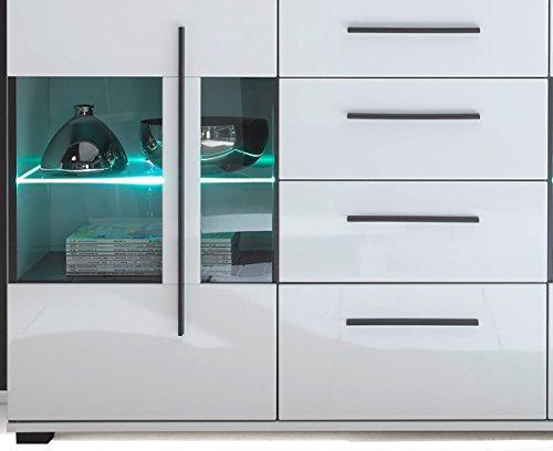 Wohnzimmer Set mit Standvitrinen & LED-Beleuchtung 270cm 4-teilig 440944 weiß - 4