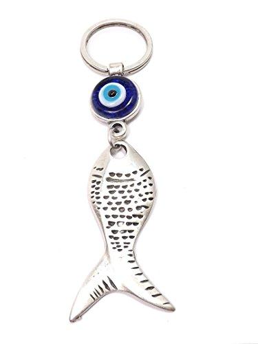 Schlüsselanhänger VERSILBERT - Fisch Fish Nazar Boncuk Türkisches Auge - Glücksbringer - Silber blau (Türkis)