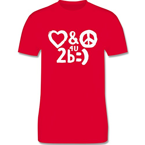 Symbole - Love & Peace for you to be happy - Herren Premium T-Shirt Rot