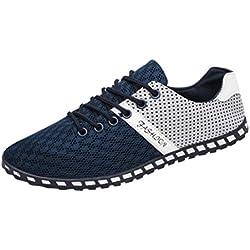 Culater Zapatillas Planos Hombre de Deporte de Moda Mesh Casual Zapatos Transpirables Cómodos (EU:37/CN:38, Azul)