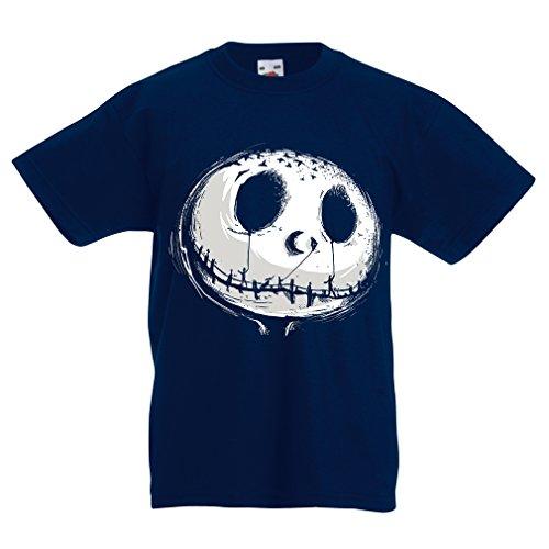 gstigend Schädel Gesicht - Alptraum - Halloween-Party-Kleidung (9-11 Years Dunkelblau Mehrfarben) ()