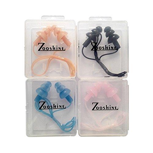4 juegos de tapones para los oídos con cordón Zooshine, hechos de silicona suave, ideales para natación, colores surtidos, empacados en cajas individuales
