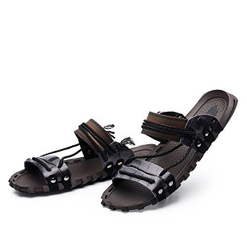 SYYAN Herren Strand Leder Handgefertigt Sandalen Draussen Black