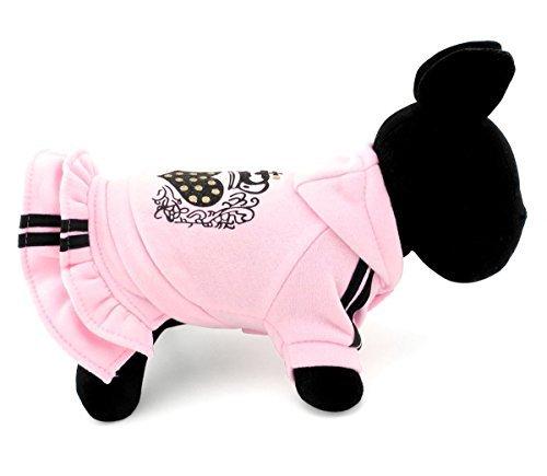 Kapuzen Schicht Kleid Mantel Herz Haustier Fleece Pullover Jacke Chihuahua Yorkie Kleidung für Puppy Dog Cat Pink, M, Rose ()