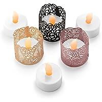 Candeline LED senza fiamma - 24 Candele a Batteria, Include portacandele decorativo votivo in 3 colori e stili. Ideale per matrimoni, regali, vacanze, artigianato, Natale - Sicuri per la tua casa - Belle Cristallo Vasi