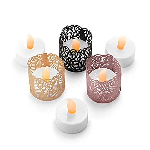 FLAMELESS TEA LIGHT SET 24 Flickering LED Battery Operated Tealight Candles With BONUS Votive Wraps Included - Decorative & Safe Lighting - Ideal for Gifts, Grandparents, Children, Mantel, Window, Party, Weddings, Events, Night Light