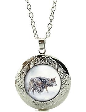 Amulett / Foto-Medaillon zum Öffnen - Motiv: Wolf Grauwolf Europäischer Wolf - Farbe: Silber / Silberschmuck /...