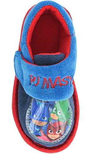 PJ MASKS Boys ROAN Soft Touch Character Slipper in Blue Multi with Touch Fastening Strap Size 4,5,6,7,8,9,10