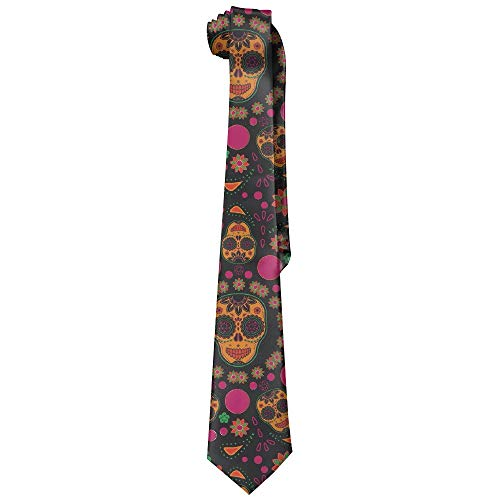 Integrity merchant Men's Tie Sugar Skull Long Necktie Skinny Neckwear Silk