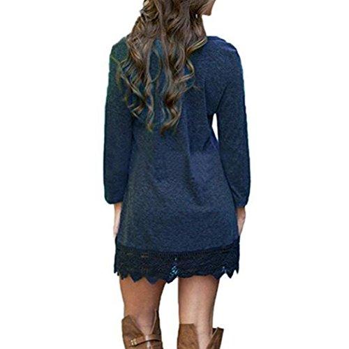 Robe Dentelle Femme A-line Manches Longues Swing Vintage Soirée Col Rond Dark Blue