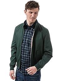 Ben Sherman Mens Script Harrington Jacket Green Full Zip Fastening Button Collar