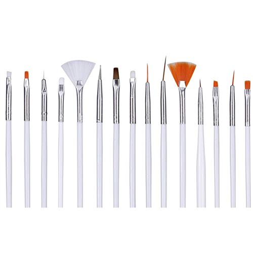 AlexVyan White Professional 15 Nail Art Brush(14 Brush and 1 Pen) for Nail Painting Designing Drawing Polish Nail Decoration and Nail Treatment