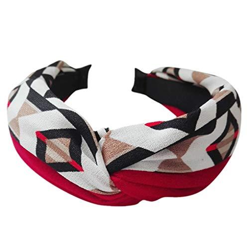 Dorical Haarband Yoga Headband Hairband Damen Stoff Haarreif mit Schleife-Vintage-Wunderschön Stirnband,Haarschmuck Haarreif mit Schleife-Vintage-Wunderschön Stirnband (One Size, Z002-Rot)