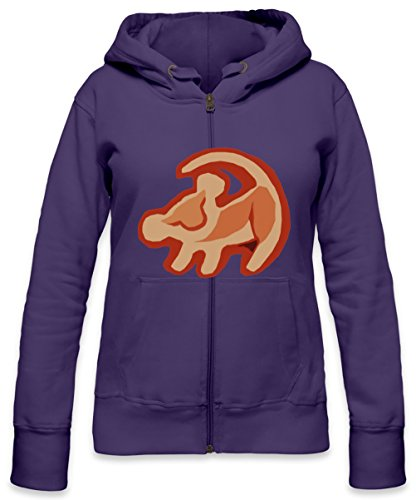 Simba The Lion King Logo Womens Zipper Hoodie Small -