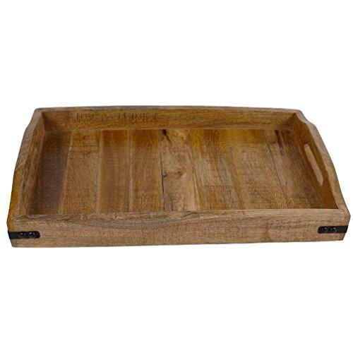 Tablett Serviertablett Frühstückstablett Natur Holz Metall Antik Mittelalter Stil. Von Haus der Herzen®